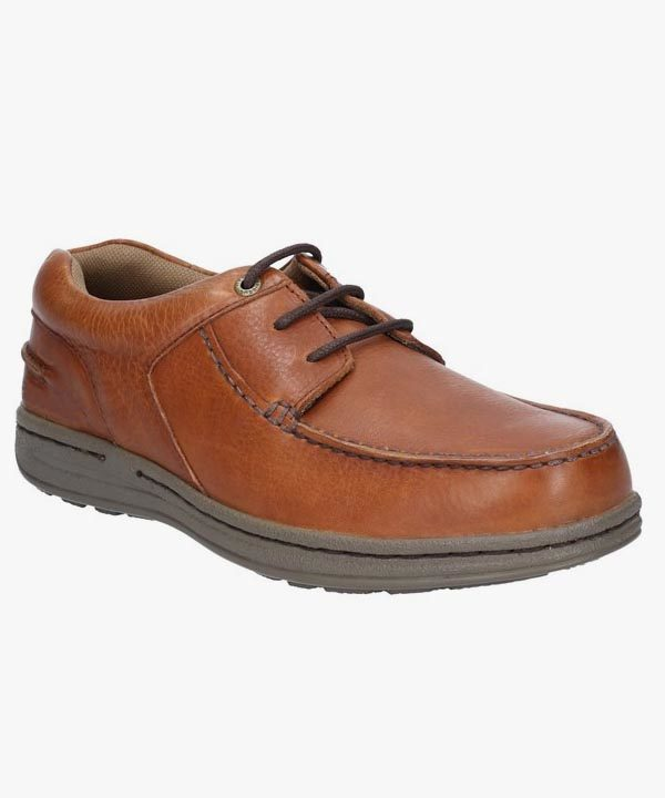 Mens Hush Puppies Shoes Tan Brown Leather Lightweight Laced Wiston Victory