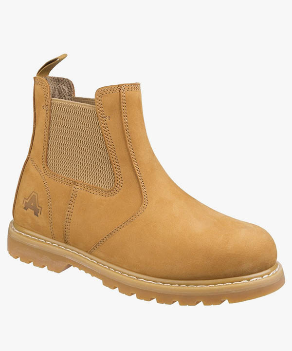 Mens Amblers Dealer Safety Boots Honey Nubuck Goodyear Welted Steel Toe Cap Slip On