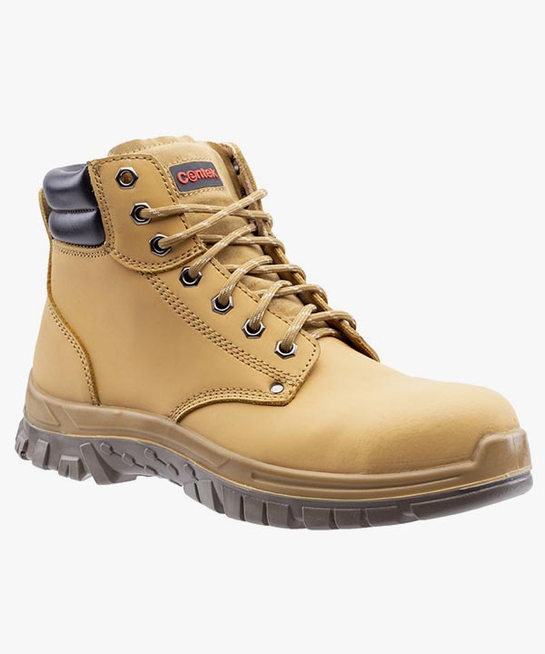 Mens Centek Safety Work Boots Honey Leather Steel Toe Cap Laced FS339