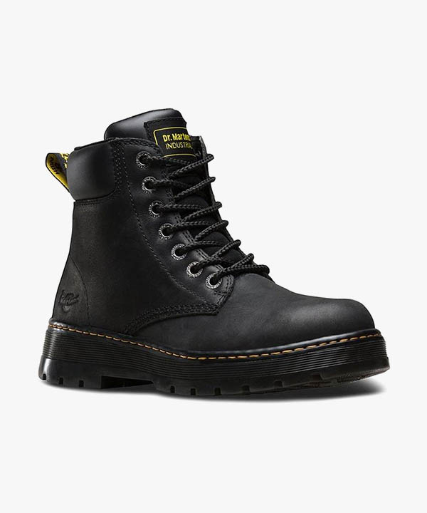 Mens Dr Martens Winch Boots Black Leather 7 Eye Laced Non Steel Toe Cap