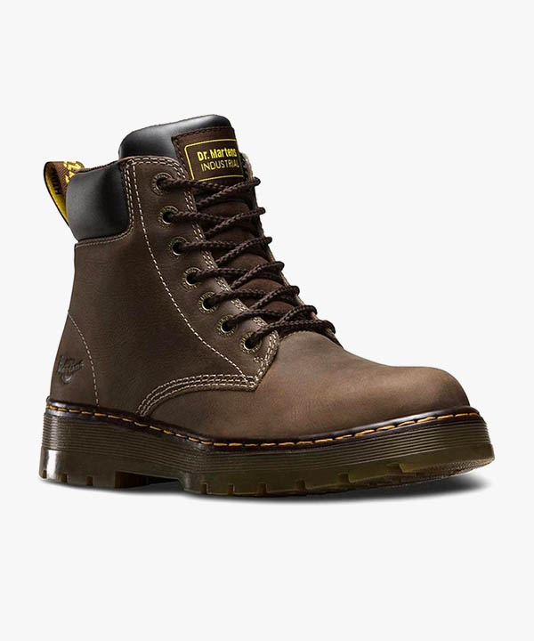 Mens Dr Martens Winch Boots Brown Leather 7 Eye Laced Non Steel Toe Cap