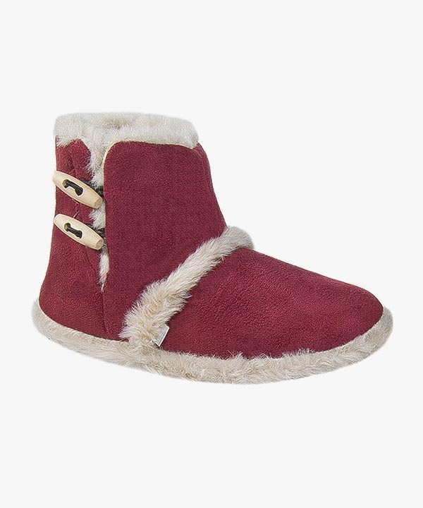 Womens Ladies Coolers Boot Slippers Red Warm Fluffy Lined Toggle Soft Soled 103