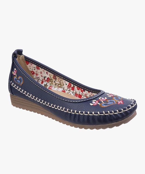 Ladies Womens Fleet & Foster Slip on Shoes Navy Blue Padded Moccasin Styled Algarve