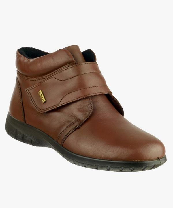 Ladies Womens Cotswold Waterproof Velcro Brown Black Smooth Leather Chalford