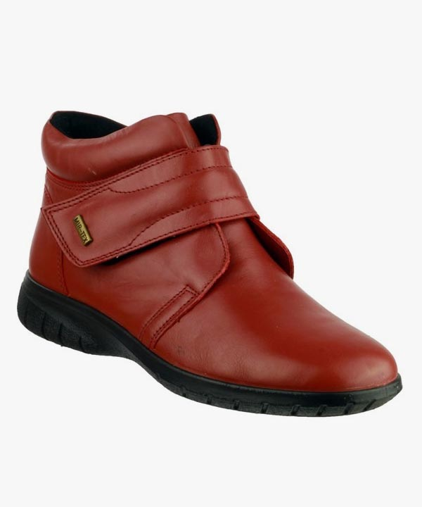 Ladies Womens Cotswold Waterproof Velcro Red Smooth Leather Chalford