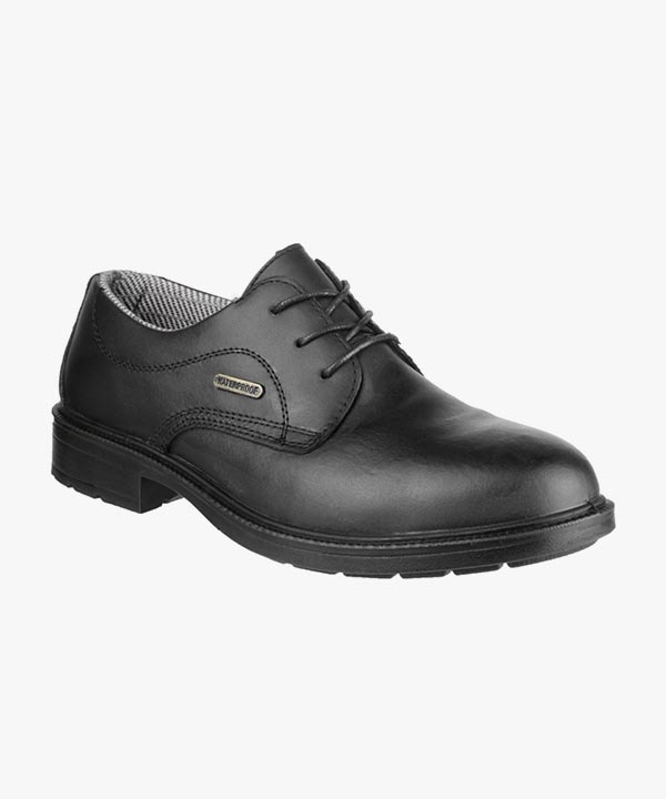 Mens Amblers Waterproof Safety Shoes Black Leather Steel Toe Cap Laced FS62