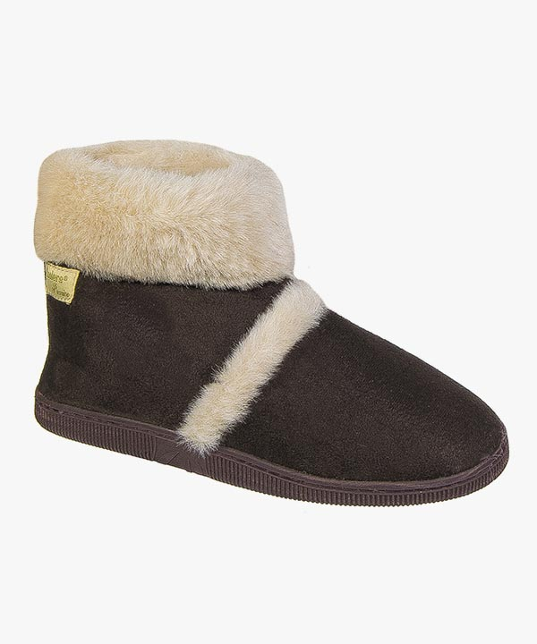 Ladies Womens Coolers Boot Slippers Brown Warm Lined Slip On Outdoor Sole L079