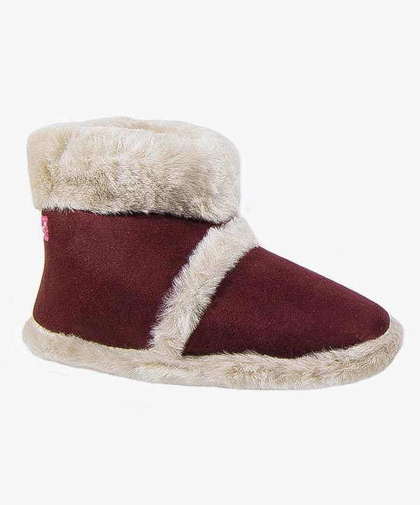 Womens Ladies Coolers Boot Slippers Dark Red Warm Lined Fluffy Slip On L100