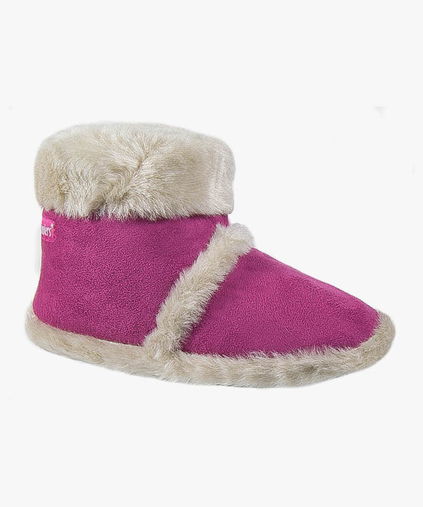 Womens Ladies Coolers Boot Slippers Fuchsia Pink Warm Lined Fluffy Slip On L100