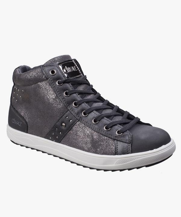 Ladies Womens Diaz Trainer Boots Grey Skater Style Laced Steffy
