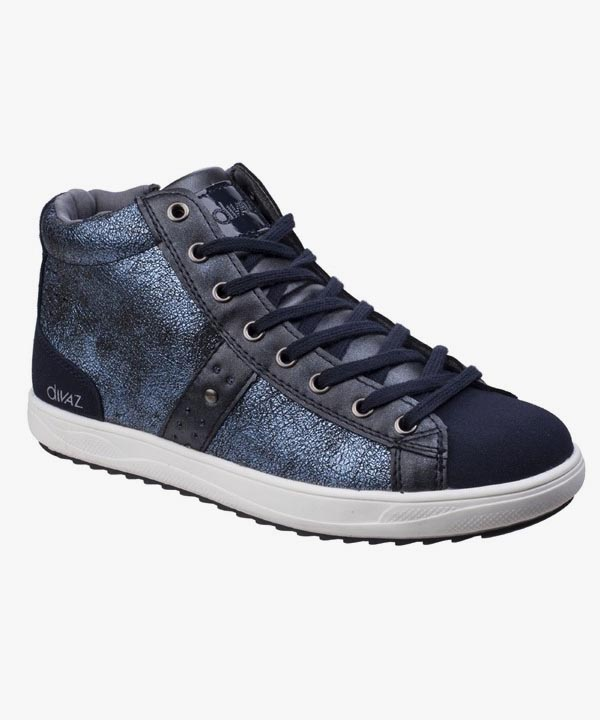 Ladies Womens Diaz Trainer Boots Navy Blue Skater Style Laced Steffy